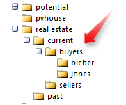 "Create subfolders ""current,"" ""buyers,"" ""jones"""