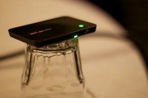 Verizon Hotspot Balanced on Water Glass