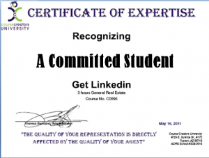 Sample Certificate of Expertise
