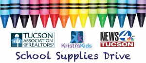 Colorful crayons and logos for partners of TAR's School Supplies Drive