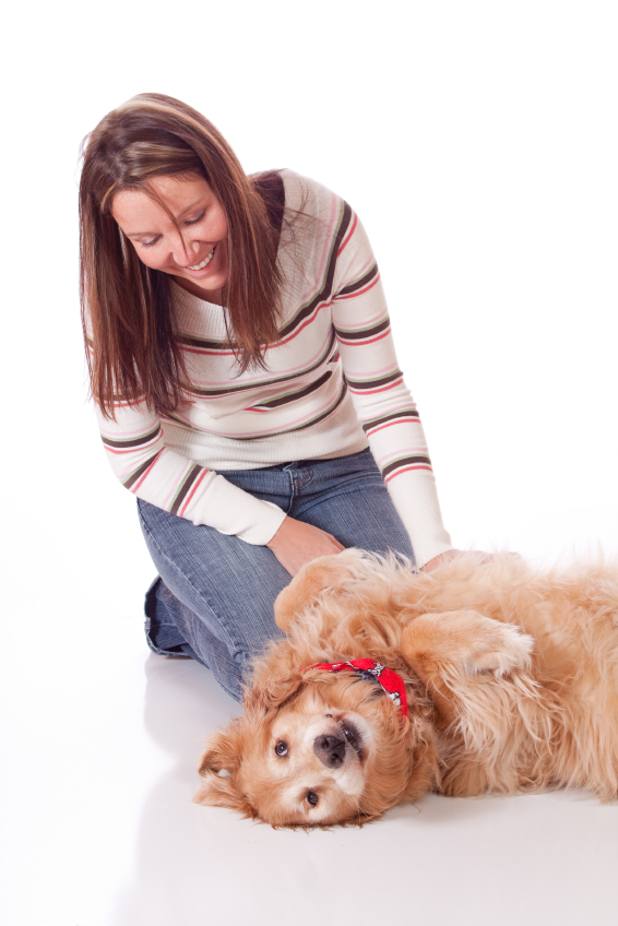 Young woman with her golden retriever