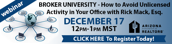 Register Now for the Broker University Webinar: Unlicensed Activity & Assistants on December 17, 2015 - Visit https://www.aaronline.com/calendar/view-event/?id=741 for more information.