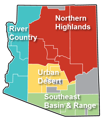Arizona Market Regions color-coded map