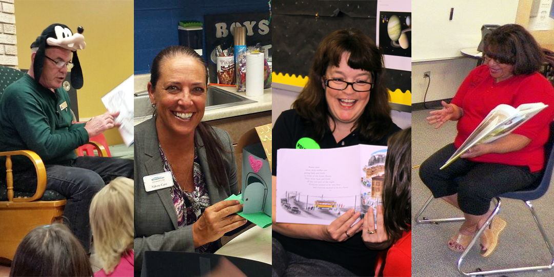 Bryan Anderson, Valerie Caro, Monica Schulik and Norrie Burruel celebrate National Tell A Story Day