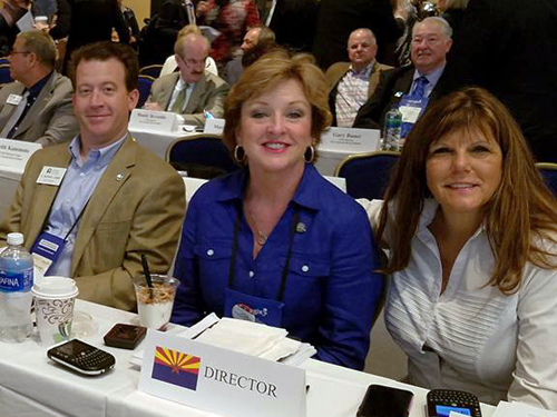 L. to R. – 2016 Arizona REALTORS® Treasurer D. Patrick Lewis, President Paula Serven and First Vice President Lori Doerfler at the REALTORS® Legislative Meetings in Washington, D.C.