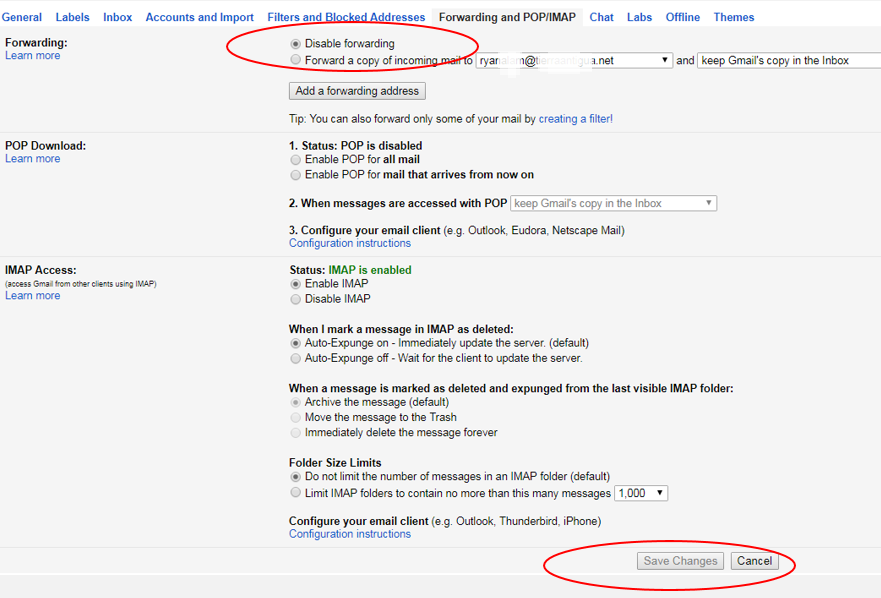 how to turn off auto forward on gmail
