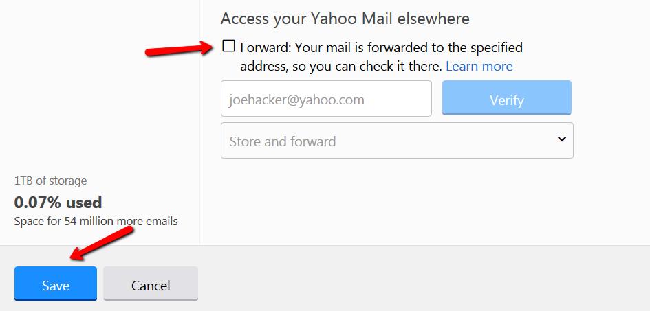 Yahoo auto forwarding 5
