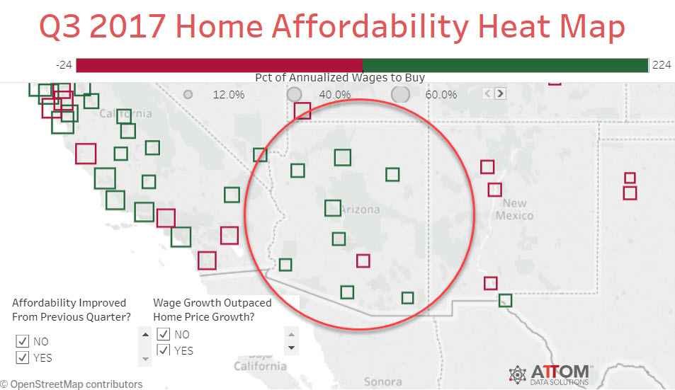 3Q2017 Home Affordability Heat Map for Arizona. Source: http://tabsoft.co/2hSD3lb