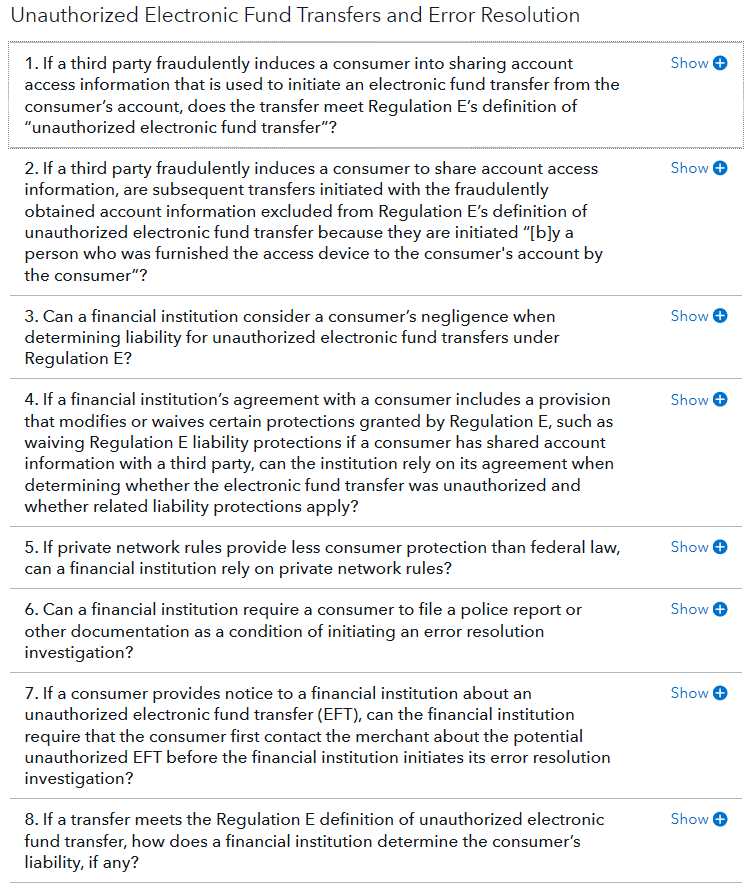 CFPB issues Electronic Fund Transfers FAQs on compliance aid webpage